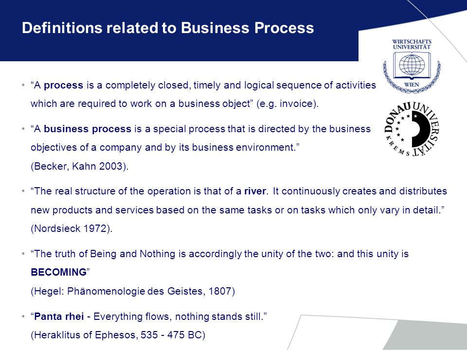Definitions related to Business Process