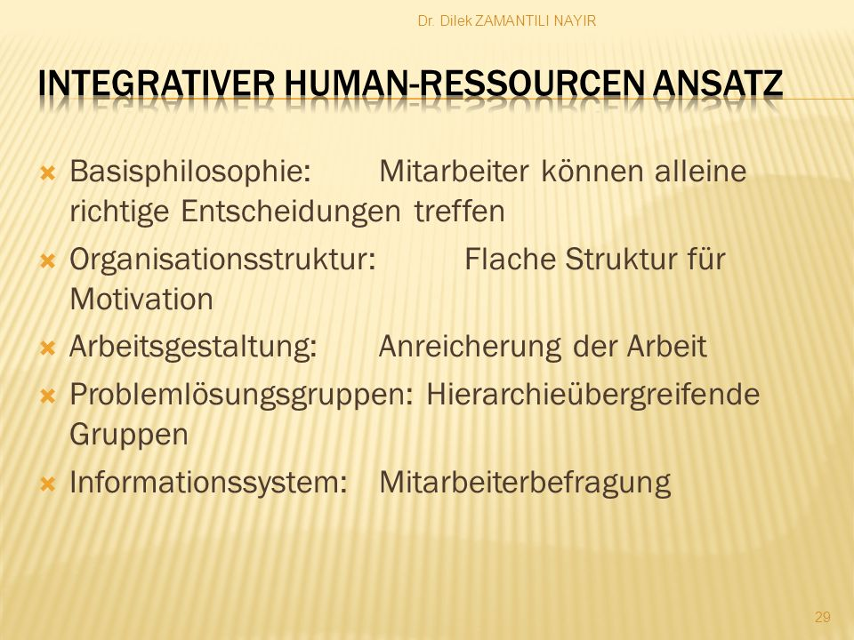 Integrativer Human-Ressourcen Ansatz