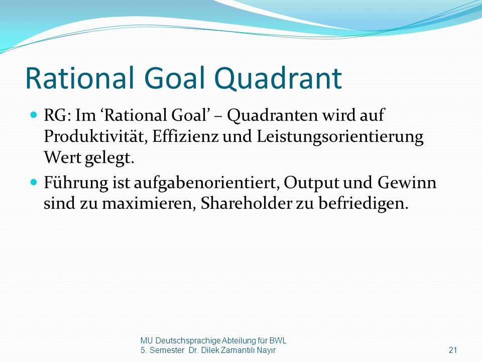 Rational Goal Quadrant