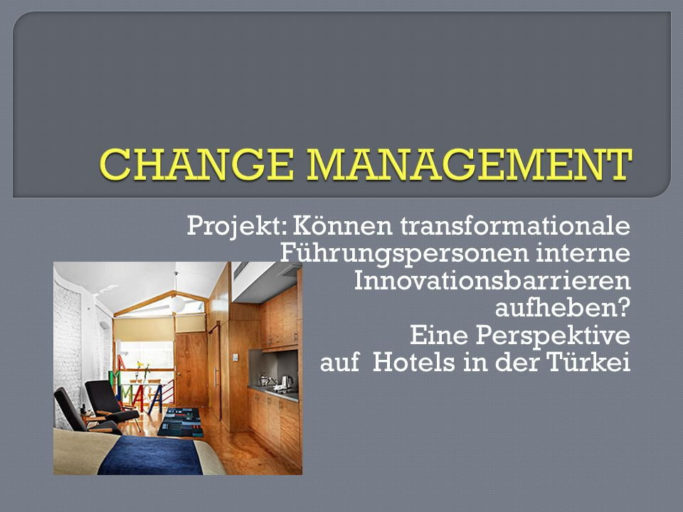 CHANGE MANAGEMENT Projekt: Können transformationale Führungspersonen interne. Innovationsbarrieren.