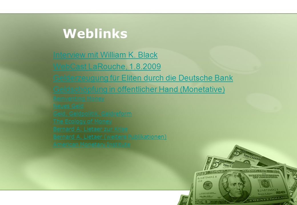 Weblinks Interview mit William K. Black WebCast LaRouche,