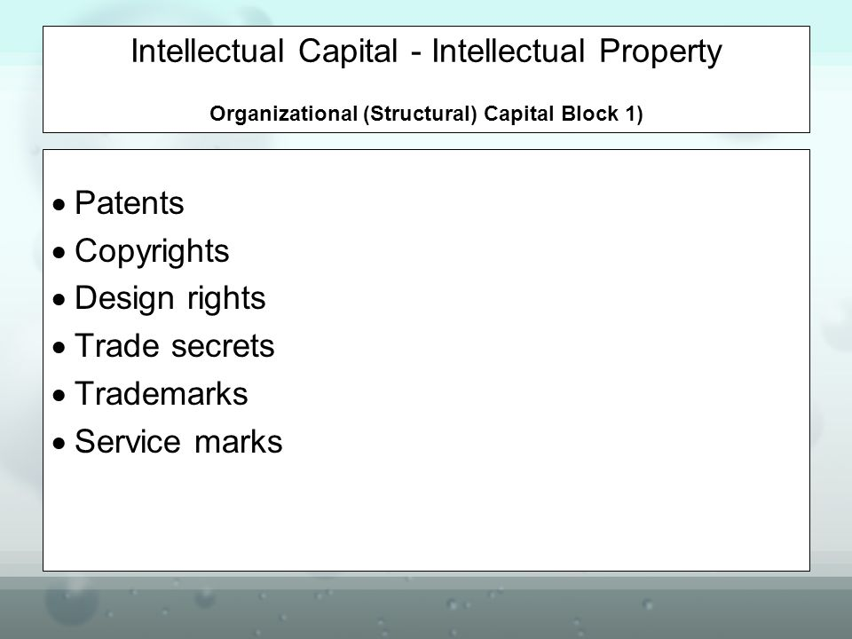 Intellectual Capital - Intellectual Property Organizational (Structural) Capital Block 1)
