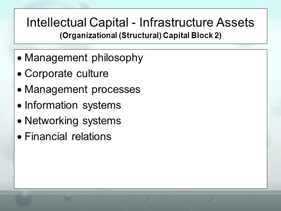 Intellectual Capital - Infrastructure Assets (Organizational (Structural) Capital Block 2)