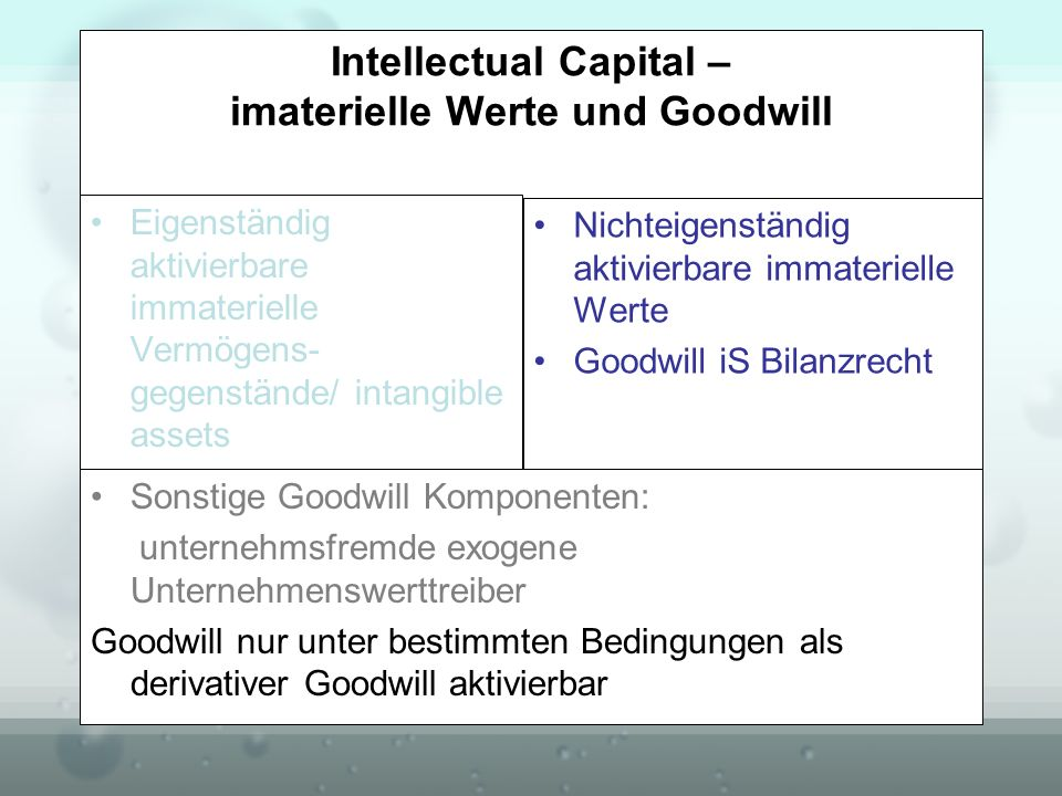 Intellectual Capital – imaterielle Werte und Goodwill