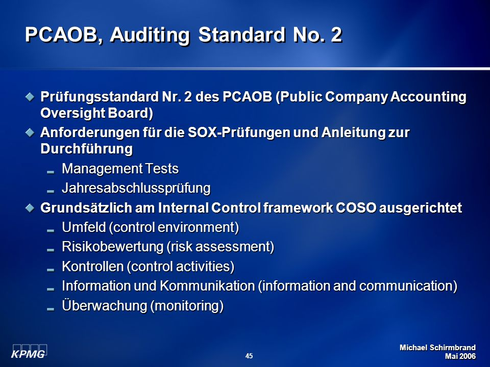 PCAOB, Auditing Standard No. 2