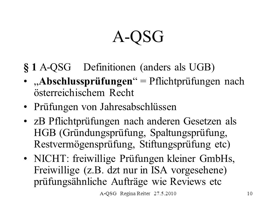 A-QSG § 1 A-QSG Definitionen (anders als UGB)