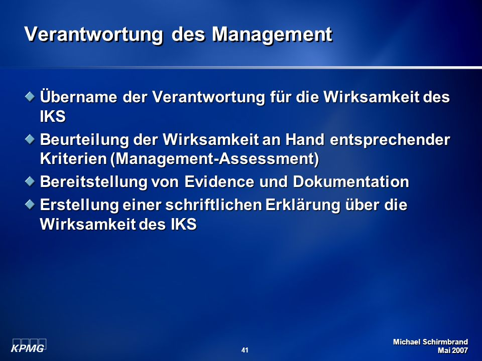 Verantwortung des Management