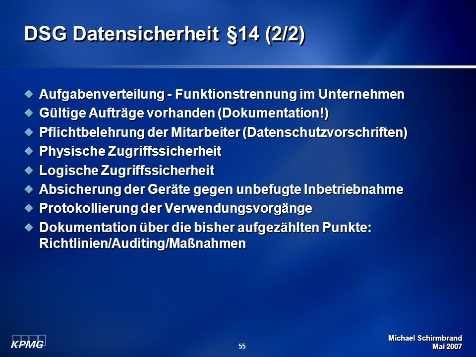 DSG Datensicherheit §14 (2/2)
