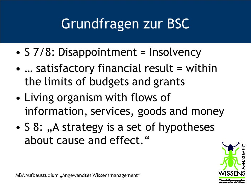 Grundfragen zur BSC S 7/8: Disappointment = Insolvency