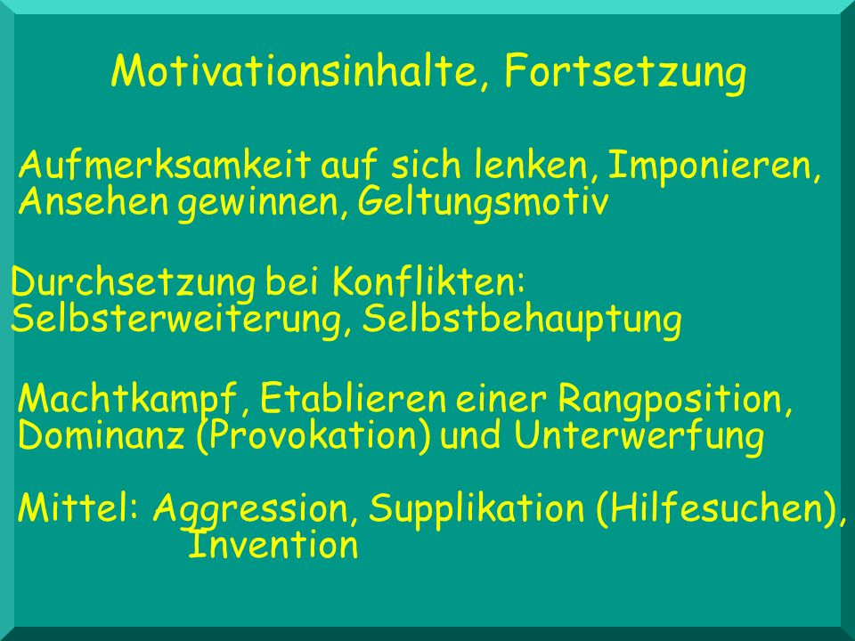 Motivationsinhalte, Fortsetzung