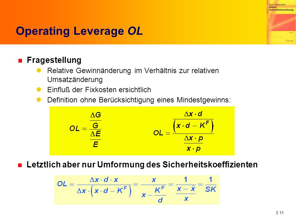 Operating Leverage OL Fragestellung