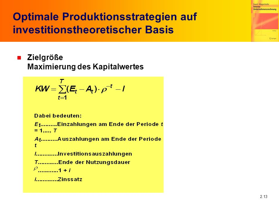 Optimale Produktionsstrategien auf investitionstheoretischer Basis