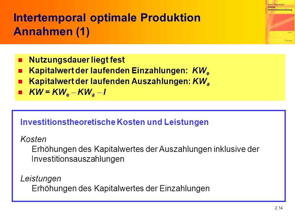 Intertemporal optimale Produktion Annahmen (1)