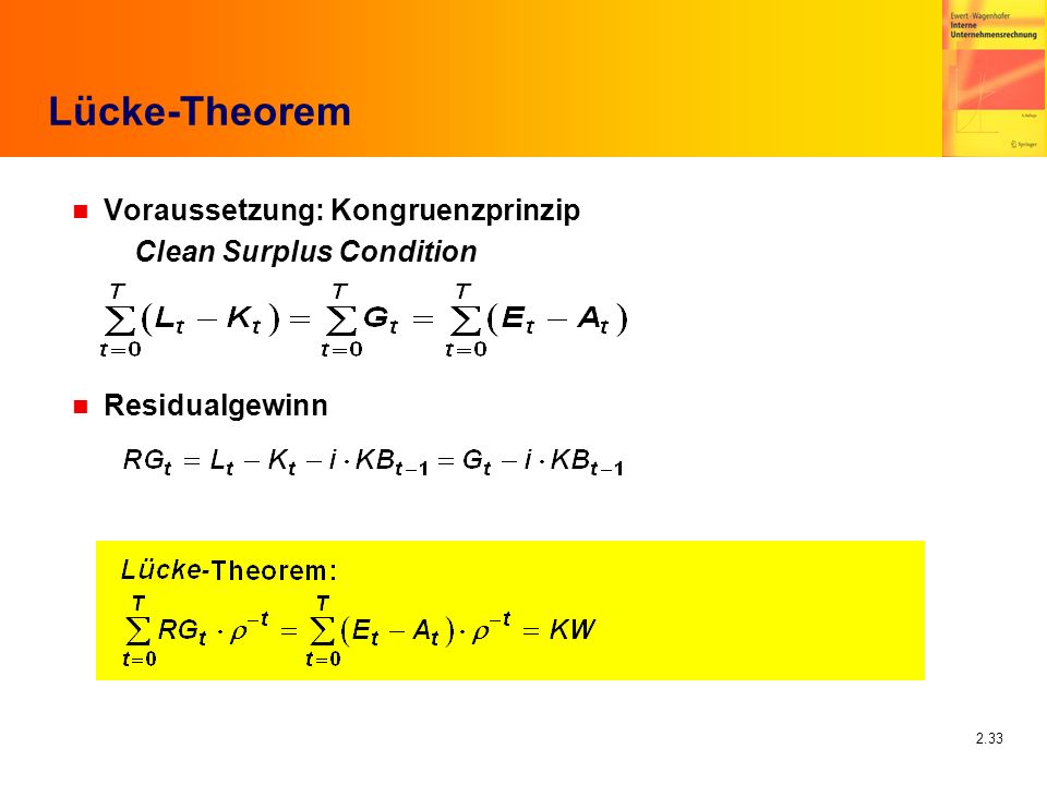 Lücke-Theorem Voraussetzung: Kongruenzprinzip Clean Surplus Condition