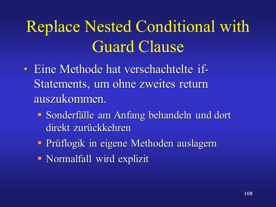 Replace Nested Conditional with Guard Clause