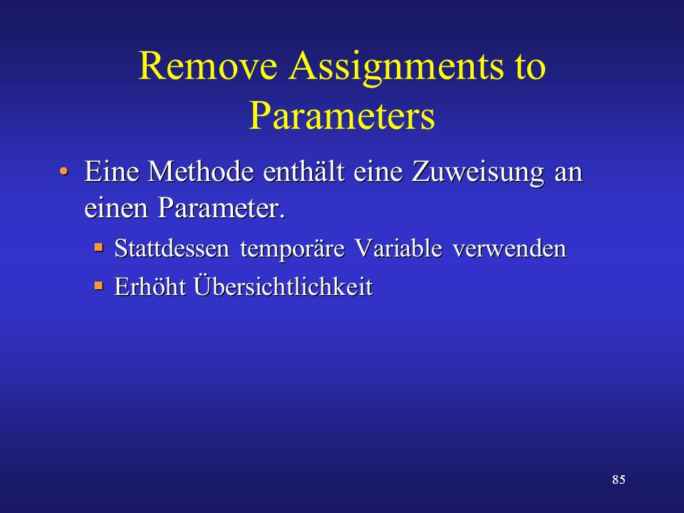 Remove Assignments to Parameters