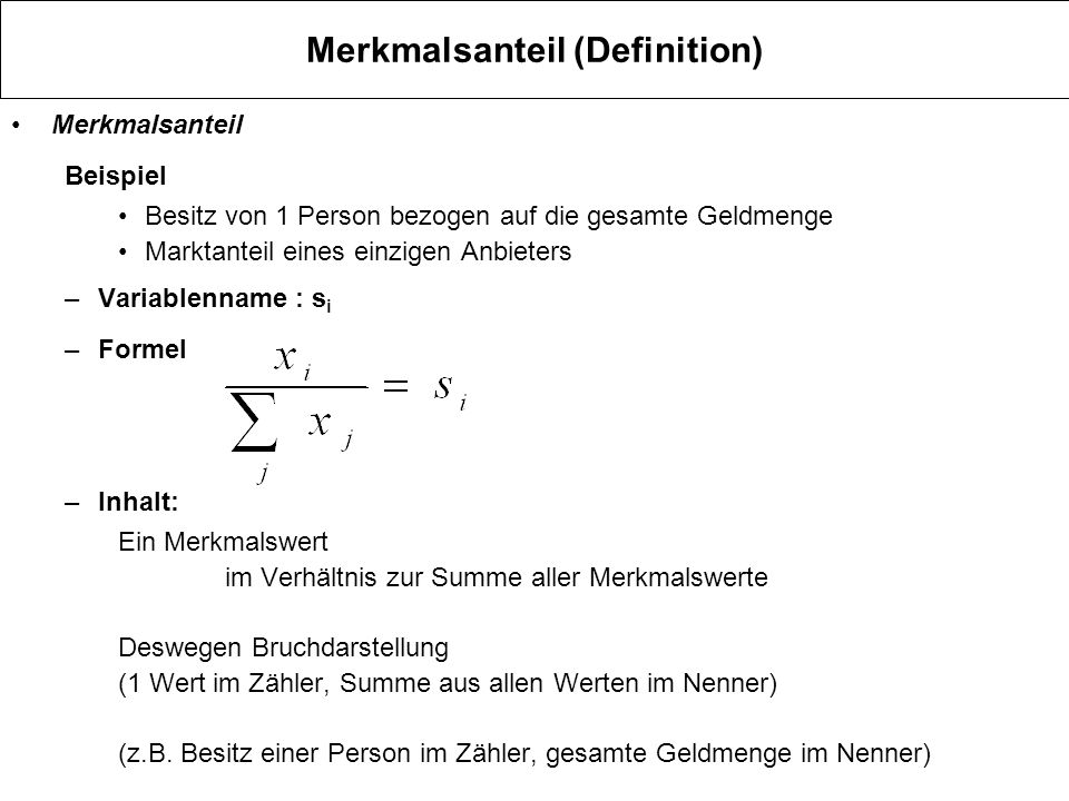 Merkmalsanteil (Definition)