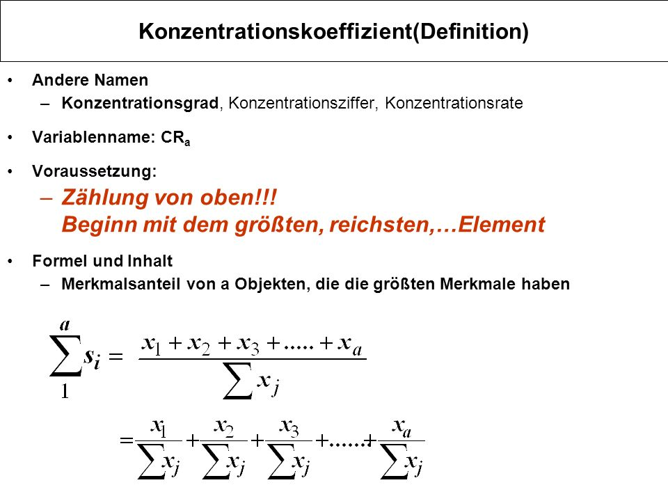 Konzentrationskoeffizient(Definition)