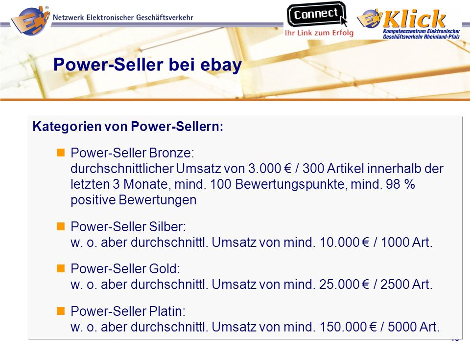 Power-Seller bei ebay Kategorien von Power-Sellern: