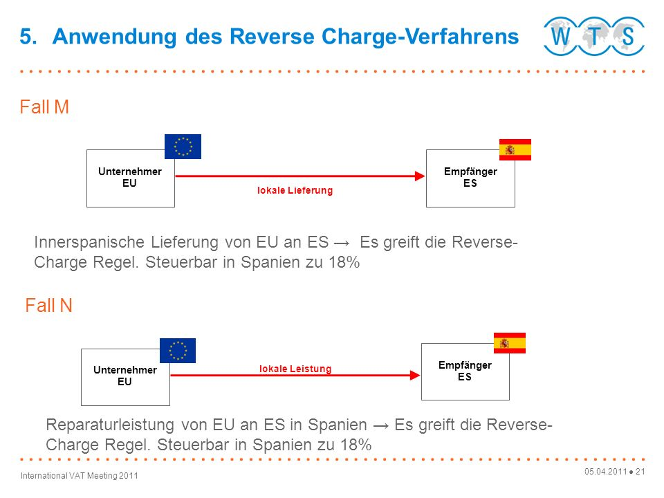 5. Anwendung des Reverse Charge-Verfahrens