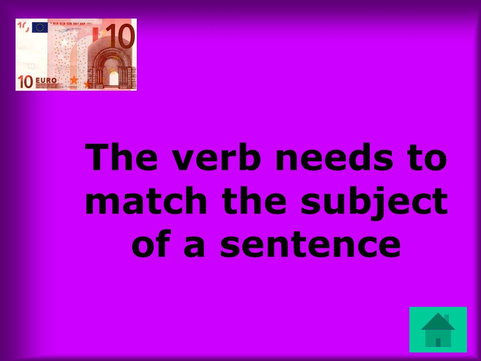 The verb needs to match the subject of a sentence