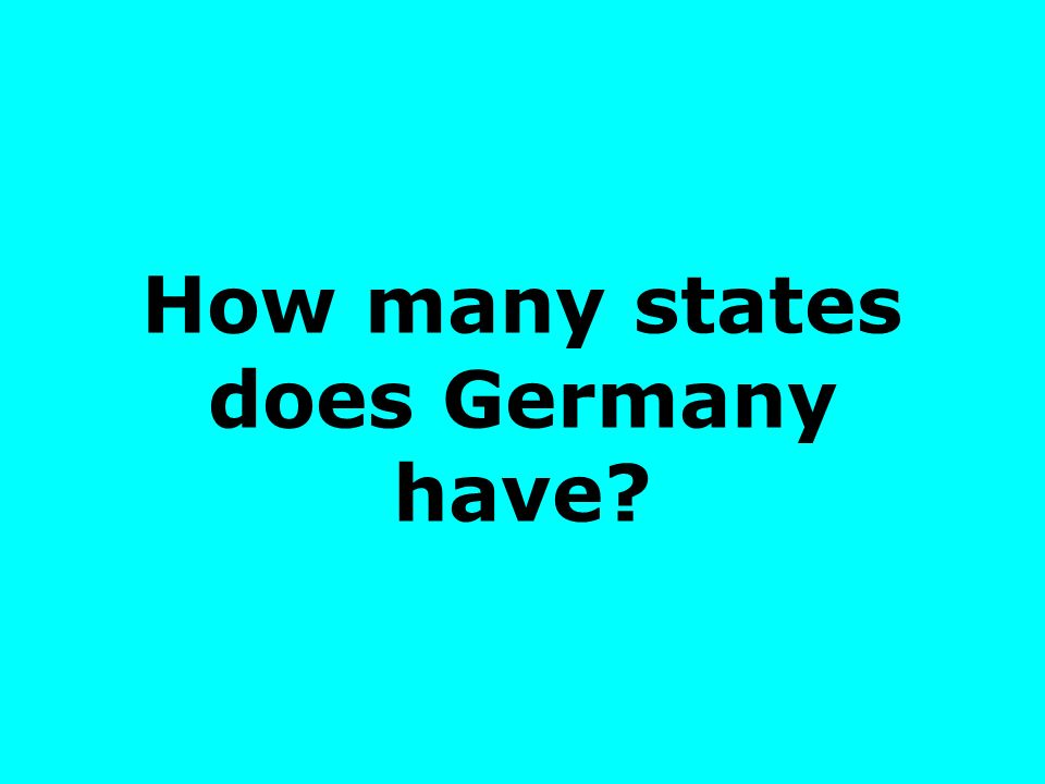 How many states does Germany have