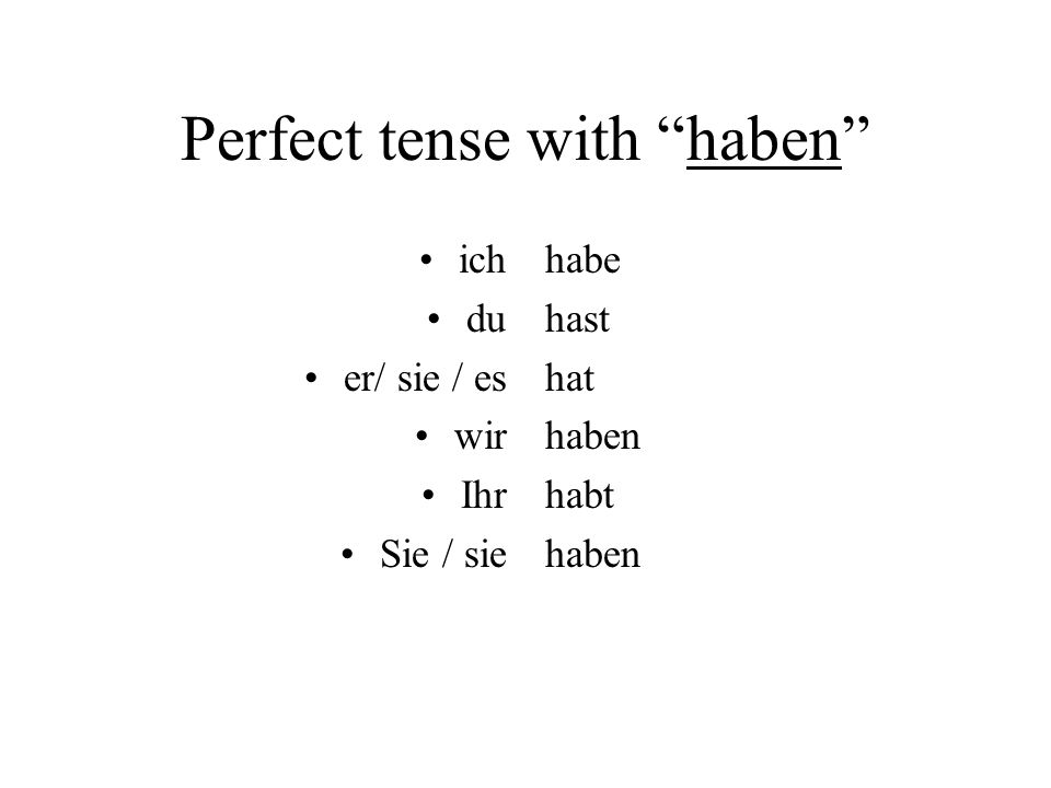 Perfect tense with haben