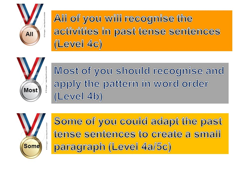 All of you will recognise the activities in past tense sentences (Level 4c)