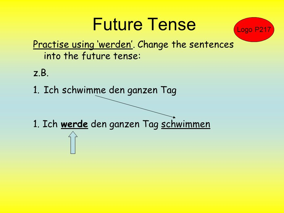 Future Tense Logo P217. Practise using 'werden'. Change the sentences into the future tense: z.B.