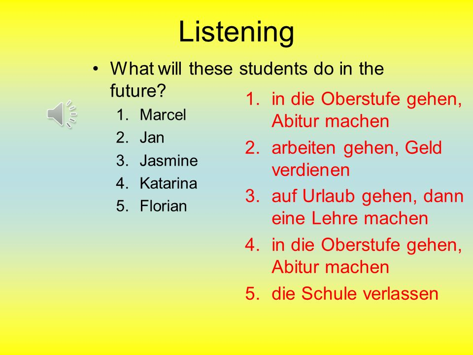 Listening What will these students do in the future