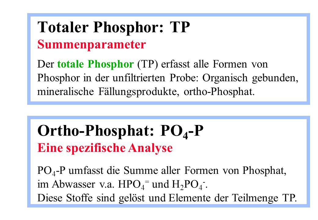 Totaler Phosphor: TP Summenparameter