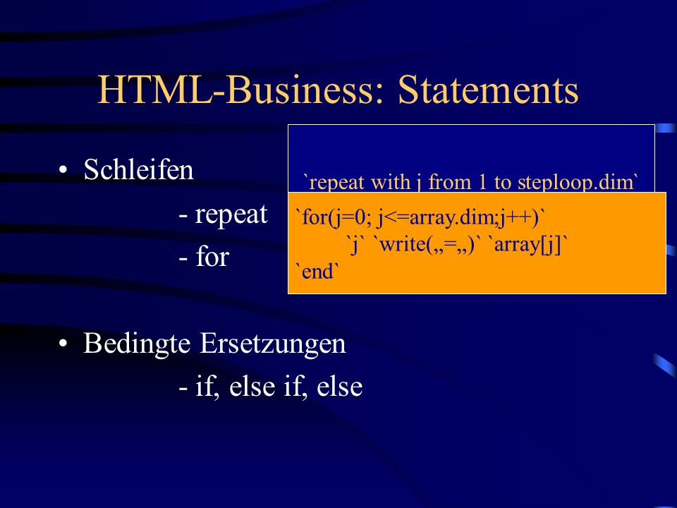 HTML-Business: Statements
