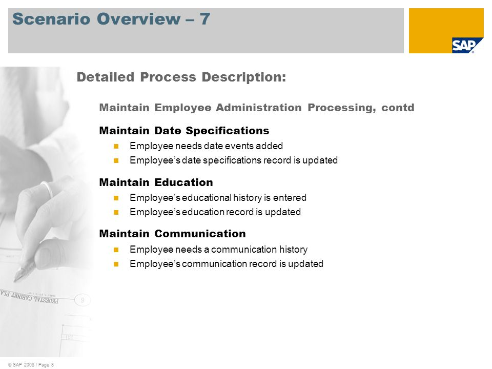 Scenario Overview – 7 Detailed Process Description: