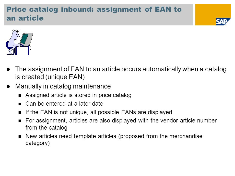 Price catalog inbound: assignment of EAN to an article