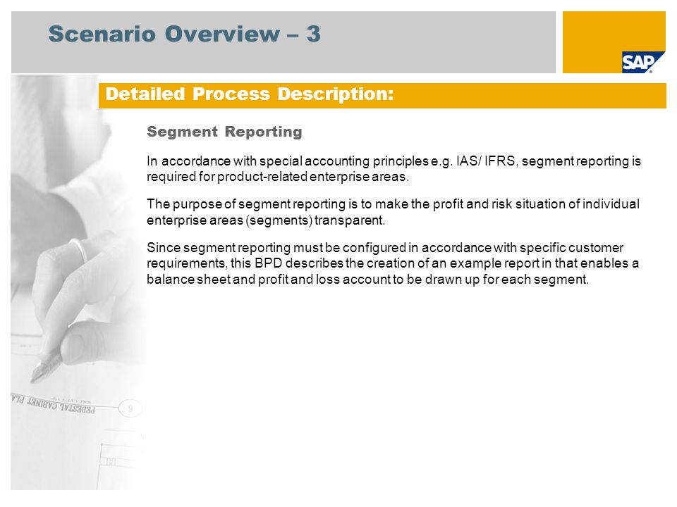 Scenario Overview – 3 Detailed Process Description: Segment Reporting
