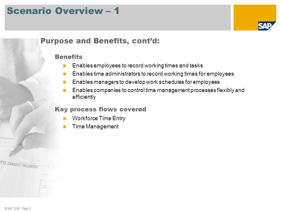 Scenario Overview – 1 Purpose and Benefits, cont'd: Benefits