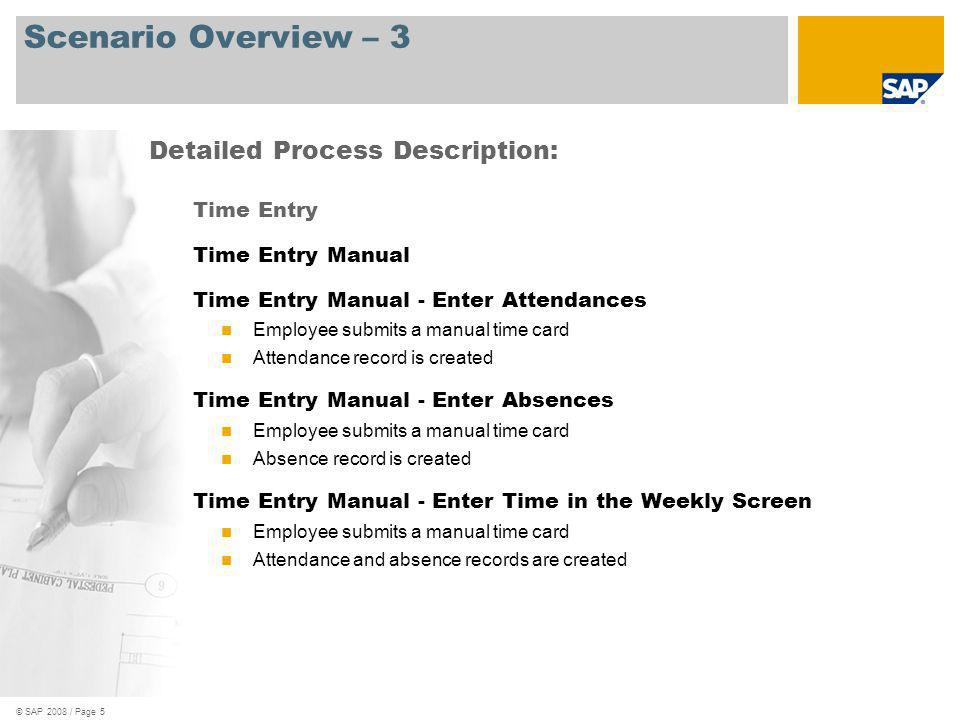 Scenario Overview – 3 Detailed Process Description: Time Entry
