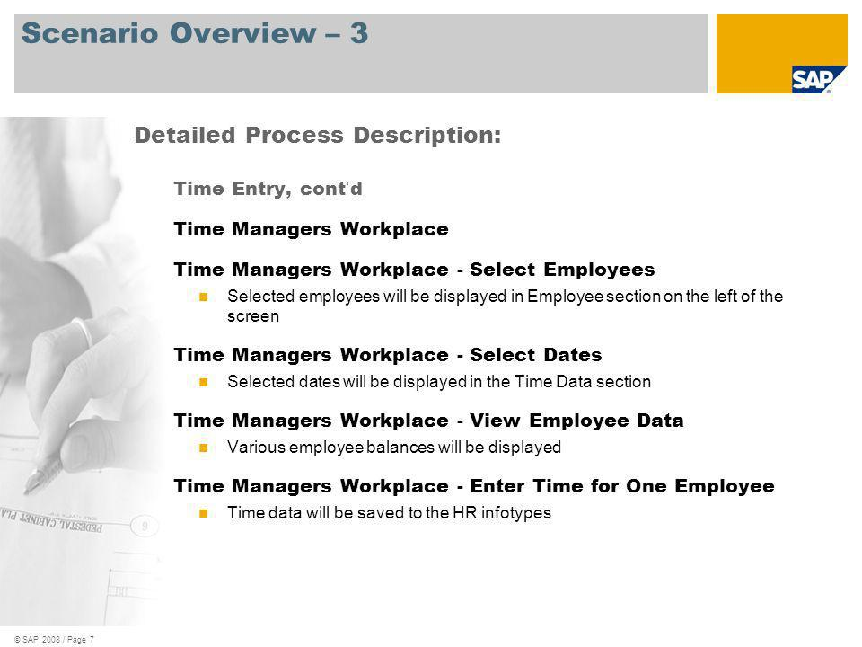 Scenario Overview – 3 Detailed Process Description: Time Entry, cont'd