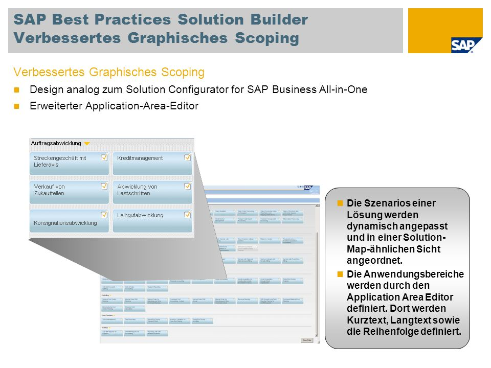 SAP Best Practices Solution Builder Verbessertes Graphisches Scoping