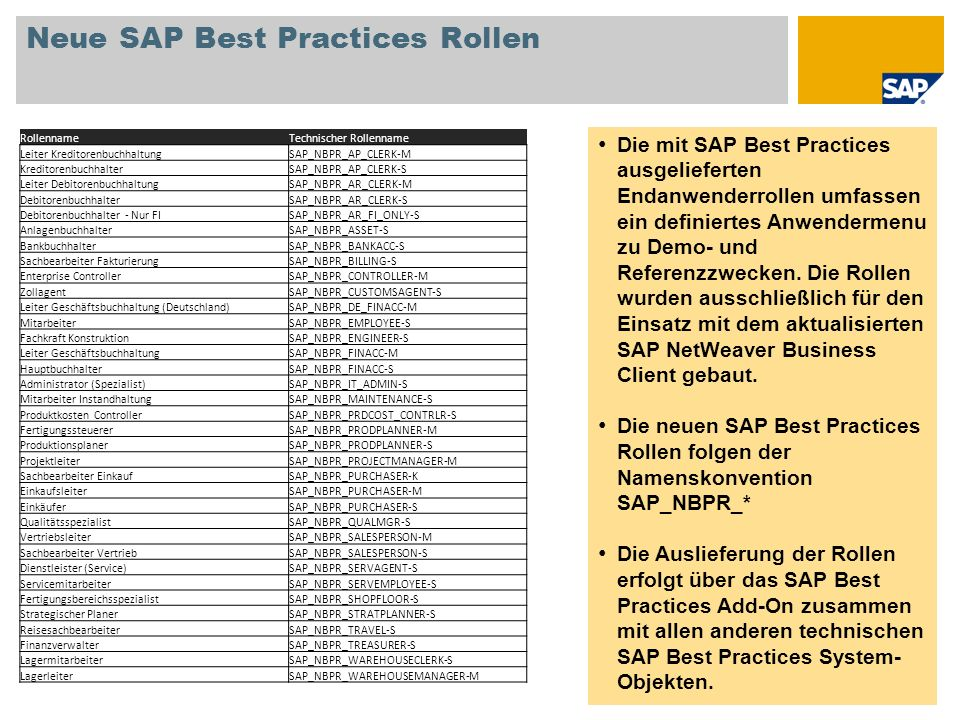 Neue SAP Best Practices Rollen