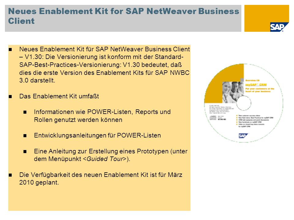Neues Enablement Kit for SAP NetWeaver Business Client