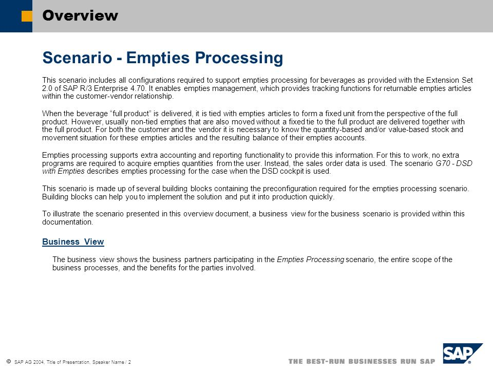 Scenario - Empties Processing