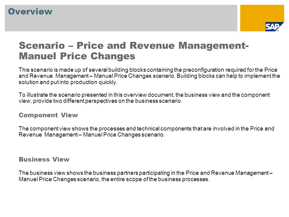 Scenario – Price and Revenue Management- Manuel Price Changes