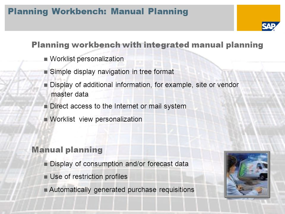 Planning Workbench: Manual Planning