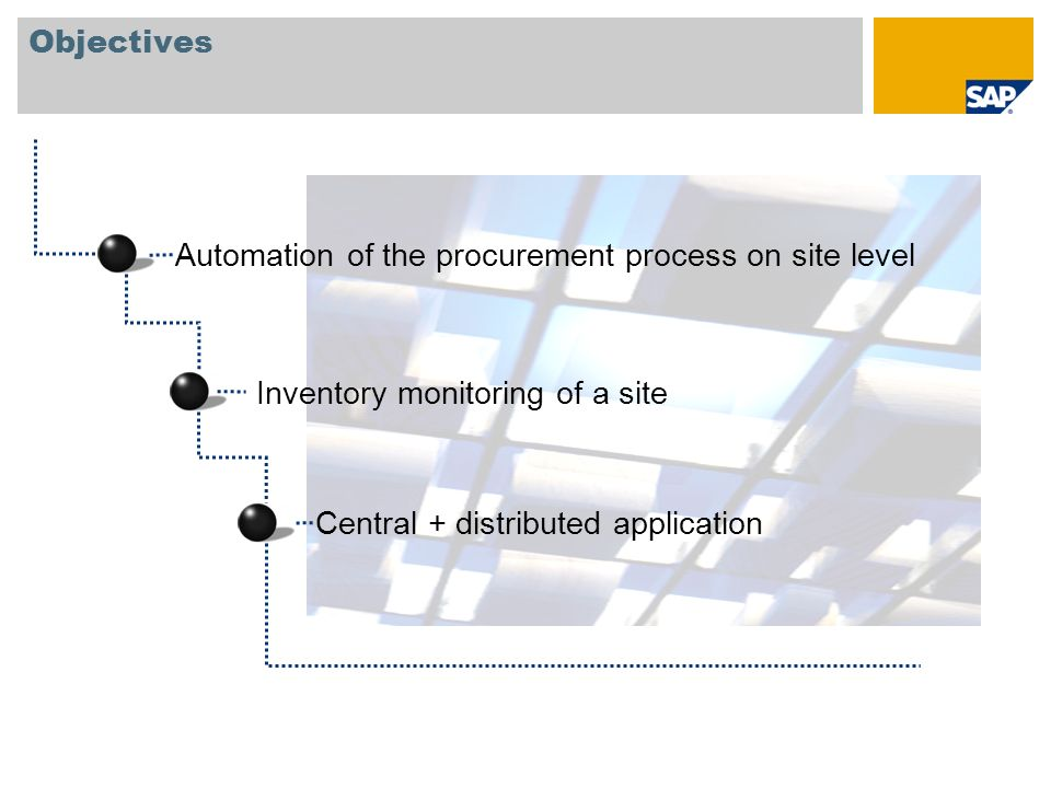 Objectives Automation of the procurement process on site level.