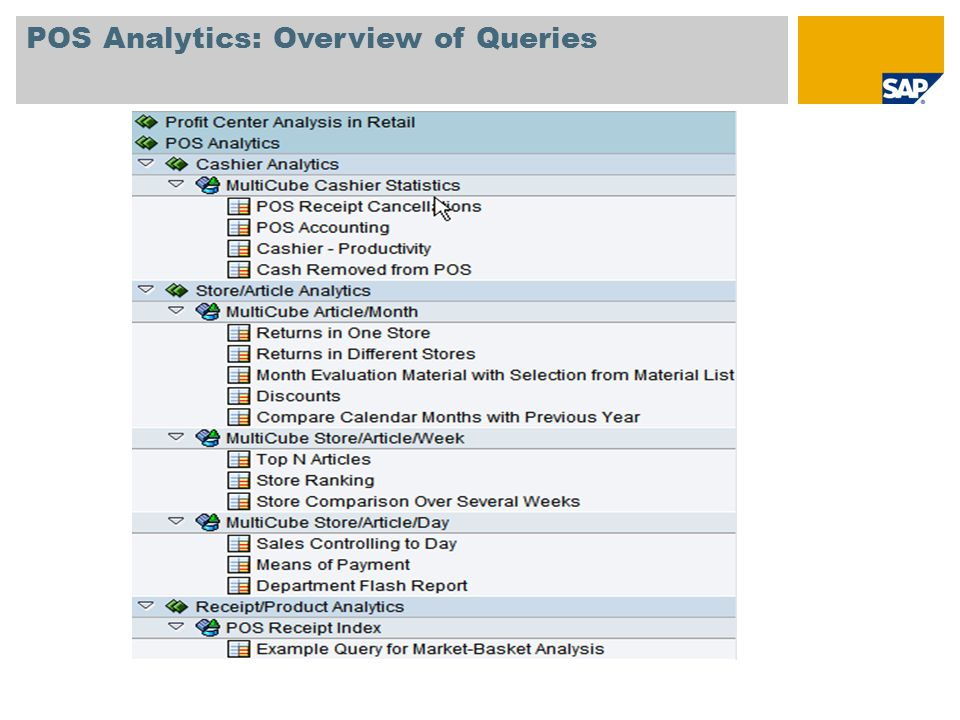 POS Analytics: Overview of Queries
