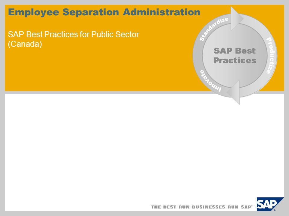 Employee Separation Administration SAP Best Practices for Public Sector (Canada)