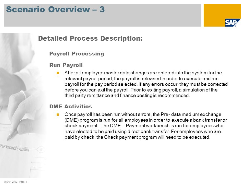 Scenario Overview – 3 Detailed Process Description: Payroll Processing