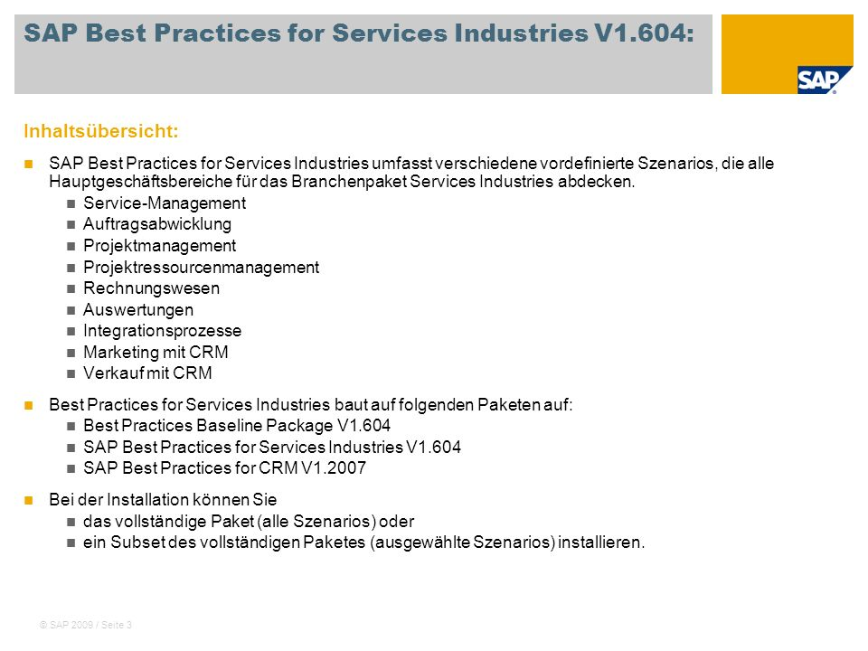 SAP Best Practices for Services Industries V1.604: