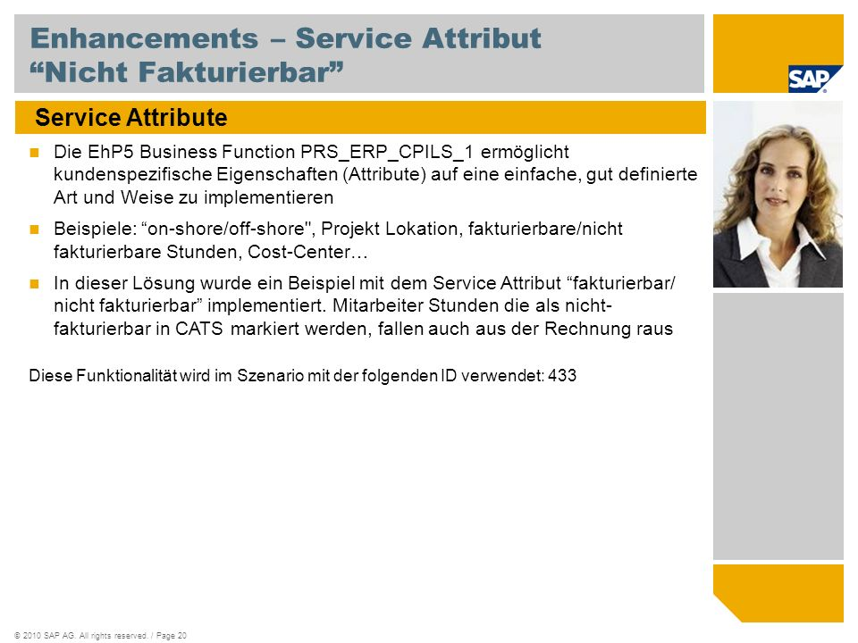 Enhancements – Service Attribut Nicht Fakturierbar